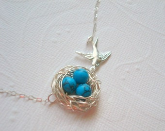 Bird Nest Necklace Turquoise Nest Necklace Spring Jewelry Mom Necklace Silver Bird Necklace  Eggs Beads with Birds