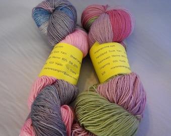Hand dyed SW 80/20 Merino Silk yarn 600 yd 150 g