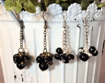 Silver or Antique Gold Pearl Cluster Dangle Earrings; Pearl Dangle Earrings; Pearl Drop Earrings; Pearl Cluster Earrings
