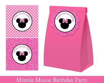 Minnie Mouse Favor Tag, Minnie Mouse thank you tag, Loot Bag Label, Minnie Mouse Birthday Printable, Minnie Mouse Decorations