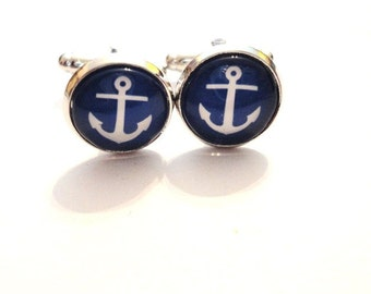 Cufflinks Anchor blue