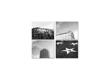 SALE, Los Angeles Photography Set of 4 Prints in Black & White - Hollywood Photos - California Prints
