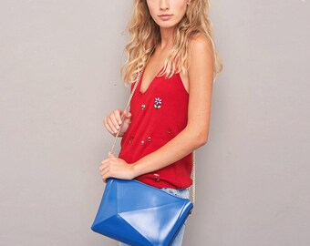 Crossbody purse, special occasion handbag, blue vinyl shoulder bag, vibrantly vegan , a piece for life, a burst of blue, perfect compliment