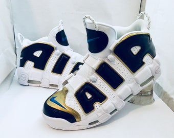 Custom hand painted nike Air uptempo size 12 men's shoes jacksonville jaguars colorway