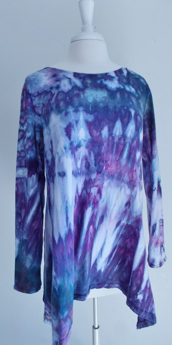 Hanky-hem tunic Ice dye tie dye Women's  Long Sleeve Cotton Shirt