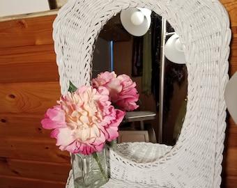 Vintage White Wicker Mirror With Shelf Shabby Chic Mirrored Shelf