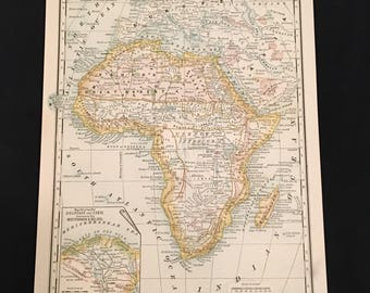 1888 Map of Africa Original Antique Map, 19th Century Physical Map of Africa, Vintage Color Map for Framing