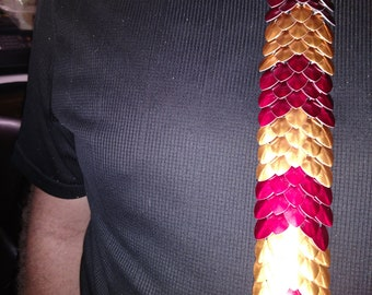 red and orange scale maille tie