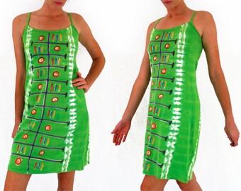 90s Hippy dress, tribal tie dye, neon green, A line dress, strappy, festival, oversized, free size, unusual, loud, medium - large