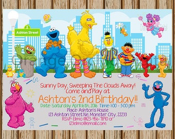"Sesame Street Birthday Invitation- Sesame Street Birthday Party- Elmo Invitations - Cookie Monster Invitation- 5""x7"" size- Digital Item"