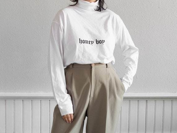 Honey Boy Tee / White Turtleneck With Black Text / Tag Size Large by Etsy
