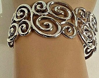 Vintage 925 Silver Sterling wide cuff Bracelet China