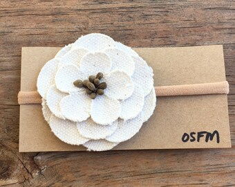 Burlap/Lace/ Rosette/Girls/Baby/infant/ Headband/country/vintage/hair clip