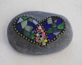 Mosaic Rock - Heart Green and Blue with Millefiori