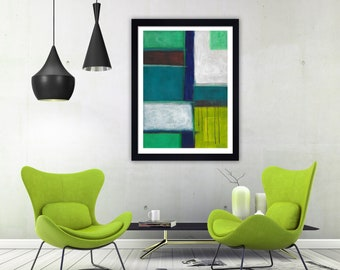 green abstract art, green abstract print, blue modern art, blue and green contemporary art, minimalist print, modern print, abstract poster