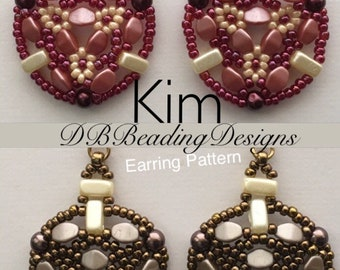 Kim Beaded Earrings Pattern, pdf, Beaded Tutorial