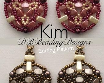 Kim Beaded Earrings Pattern, pdf, Beaded Tutorial