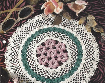 Framed Roses Crochet Doily Pattern, Cotton Thread Lace Crochet Doilies, Home Decor, Centerpiece, Table Topper, Kitchen Decor