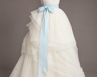 "Light Blue Wedding Sash - 2"" - Romantic Luxe Grosgrain Ribbon Sash - Wedding Belt, Bridal Sash, Bridal Belt - Wedding Dress Sash"