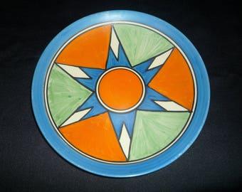 "Clarice Cliff 9"" Art Deco Hand Painted Original Bizarre Plate 1928"