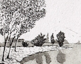 Down by the riverside, an handmade etching/aquatint, for nature lovers