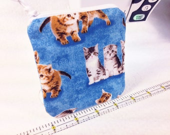Kittens Coin Purse, Kitty Cat Change Purse, Cute Zipper Pouch, Blue Background Covered with Cuddly Kittens, Fully Lined