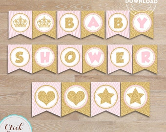 Pink and Gold Baby Shower Banner, Gold Glittler Princess Baby Shower Decorations, Party Supplies Printable Instant download