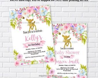 deer party, deer invitation, deer birthday, baby shower, girl first birthday, little girl birthday, girl party, gold deer - card 1192