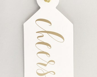 CHEERS - gold foil gift tag