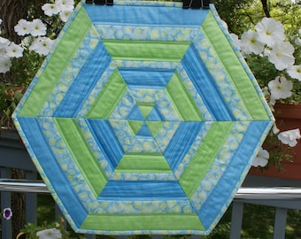 Quilted Table Topper, Green & Blue Table Topper, Hexagon Table Topper, Ombre Fabric Table Topper, Hostess Gift, Teacher Gift