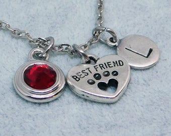 Best Friend Paw Heart necklace, swarovski birthstone, initial necklace, birthstone necklace, dog lover gift