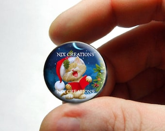 Glass Caroling Kitten Cabochon - P1 - for Jewelry and Pendant Making