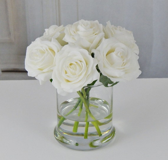 White Rose Roses Glass Vase Faux Water Acrylic Illusion
