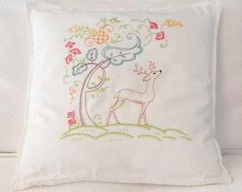 Woodland Embroidered Pillow Cover