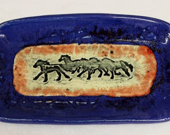 Indigo Blue Butter Dish with Red Highlights and a Herd of Running Horses