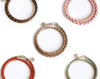 Leather Wrap Bracelet with Sterling Clasp for Men and Women (14 Colors) / Woven Leather Double Wrap / Trace Double