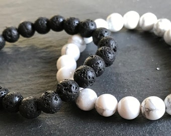 Handmade 8mm Natural Opposites Attract Diffuser Bracelet Lava Rock and Howlite Chakra