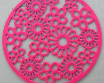 2 filigree prints - pink - Diam: 30mm - floral background # S40
