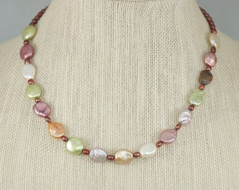 Pastel pearl necklace, Multi-colored freshwater Pearl necklace, Freshwater pearl earrings, Pearl jewelry, Free Shipping, Item #671