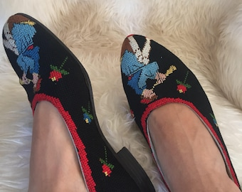 Handmade cross stitch embroidered 1920s 30s vintage shoes