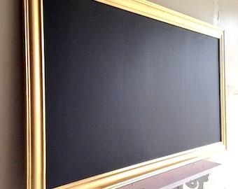 Metallic Gold WALL ORAGENIZER MAGNETIC Framed Chalk Board Artwork Display Home Office Organizer Black Magnet Board Decorative Chalkboard