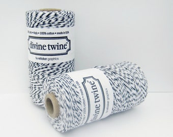 Black Licorice Divine Twine, Black Twine, Black Striped Twine, Full spool, 240 yards, Black & White Twine, Cotton String, Black Bakers Twine