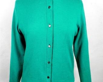 1940s Vibrant Emerald Green Wool Twin Set Size S  Vienna  Classic Period Boho