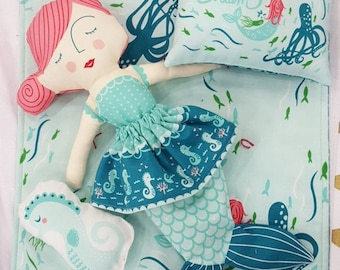 IN STOCK! Coral Queen Mermaid Doll Fabric Panel by Moda 100% Cotton, Stacy Iest Hsu