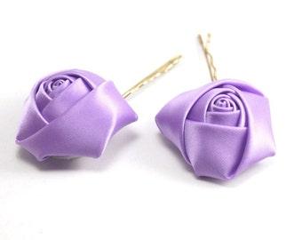 Lilac Satin,  Light Purple Flower, Wedding Bobby Pin-2pcs