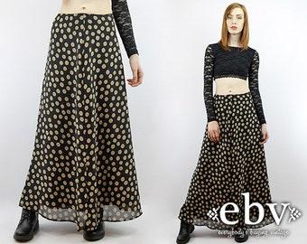 Sunflowers Skirt Festival Skirt Hippie Skirt Hippy Skirt Boho Skirt 90s Maxi Skirt Vintage 90s Black Floral Maxi Skirt XS S 1990s Skirt
