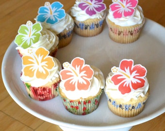 Edible Hawaiian Tropical Hibiscus Flowers - Cake & Cupcake toppers - Food decorations