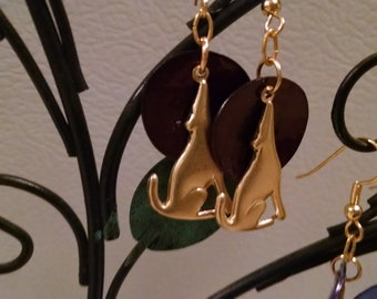 Golden coyotes howling at the moon - charm and brown shell disk earrings; feather-light, with ball & coil fishhook findings