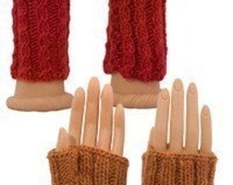 Easy Fingerless Gloves Two Ways - Knitting Pattern  PDF