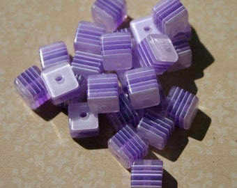 Striped Purple 8mm Laminated Acrylic Resin Cubes 25 Count White Lilac Lavender Opaque Translucent Square Geometric Light Dark Lightweight